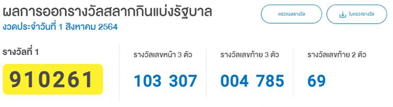 ผลรางวัลหวยไทย