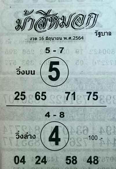 เลขเด็ดม้าสีหมอก